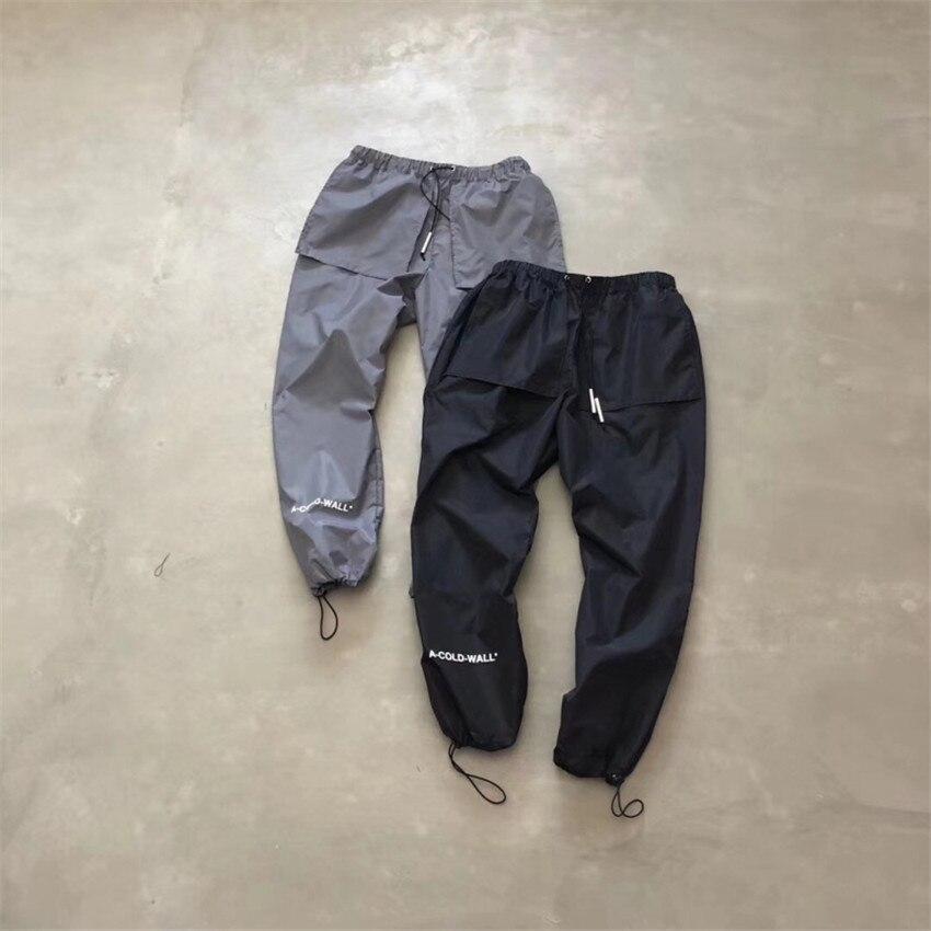 Noir/gris A froid mur pantalon 2019SS hommes Nylon cordon de serrage A-COLD-WALL * Logo imprimé sport pantalon ACW pantalon décontracté tendance unisexe