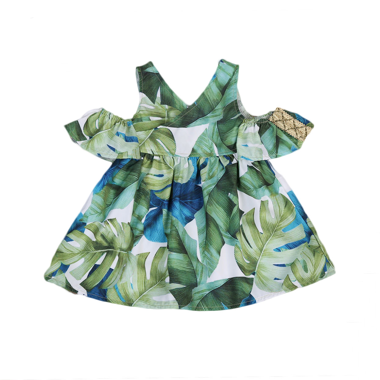 Toddler Baby Girls Outfits Clothes Off shoulder Green Leaves Print Dress 2017 Top Fashion Clothes