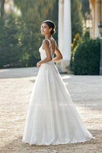 Image 4 - Illusion Sabrina A Line Tül gelinlik Dantel Aplikler Kolsuz v geri Süpürme Tren gelin elbiseleri vestido branco