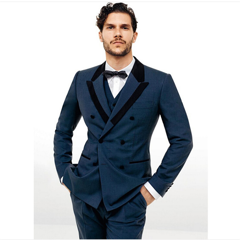 Fashion men's formal wear Groom wedding / prom dress style double ...