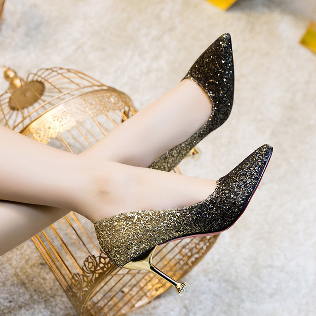 Pointed Toe Sequined Cloth Thin Heels High heel Wedding pumps women shoes 2019 Spring Autumn Fashion Shallow Bling female shoes 1