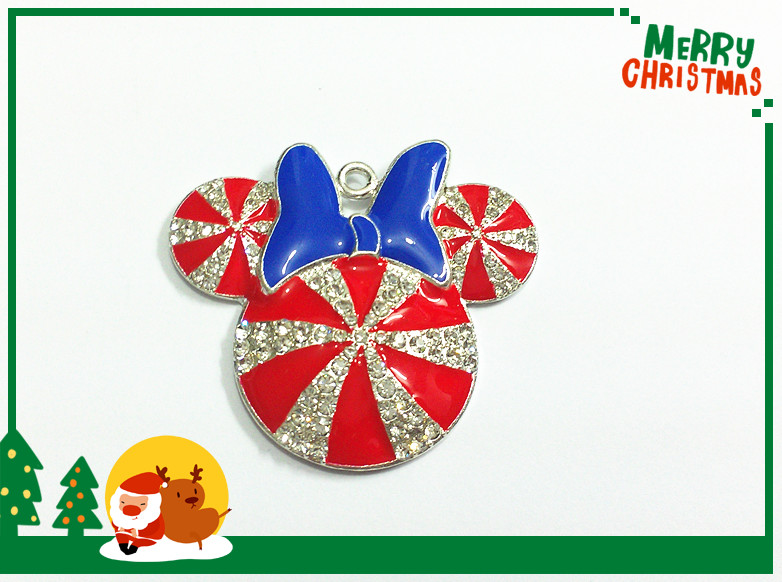 Image 3 - ( Choose Color First ) 41MM 10pcs/lot  Christmas Minnie With Bow Rhinestone Pendants For Necklace-in Pendants from Jewelry & Accessories