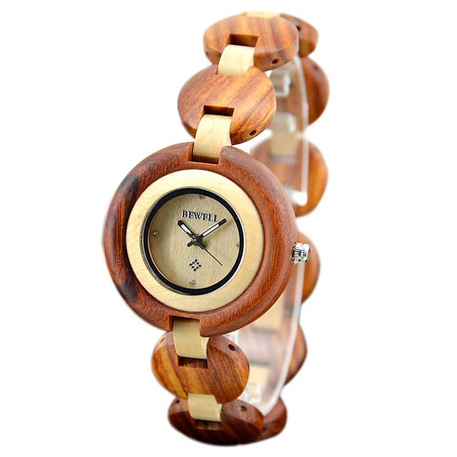 BEWELL Wood Watch Vintage Bamboo Design Women Watches Exquisite wooden Ladies Quartz Watch Clock Wristwatch With Gift Box 010A 4