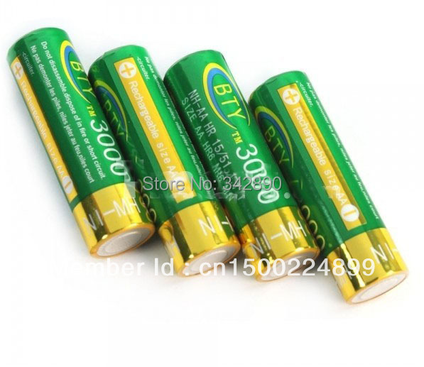 4pcs BTY AA 1.2V 3000mAh Rechargeable Ni-MH Batteries Green