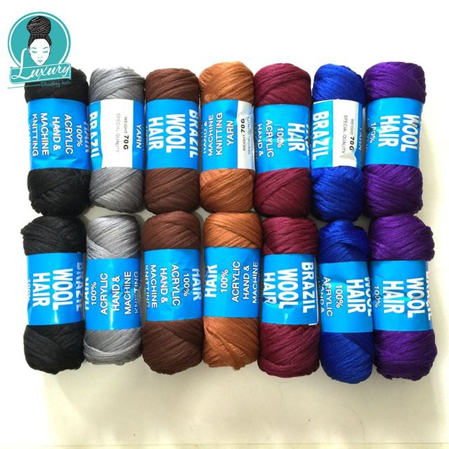 Braiding 14 번들을위한 럭셔리 번들 당 70g Brazilian wool hair low temprature 난연성 합성 섬유 상자 용 braids