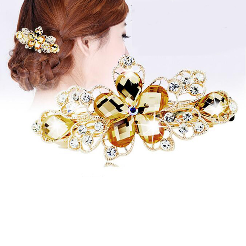 1 pc Gorgeous Crystal Flower Rhinestone charming Hairpin Twinkling Hairpin hair font b accessories b font