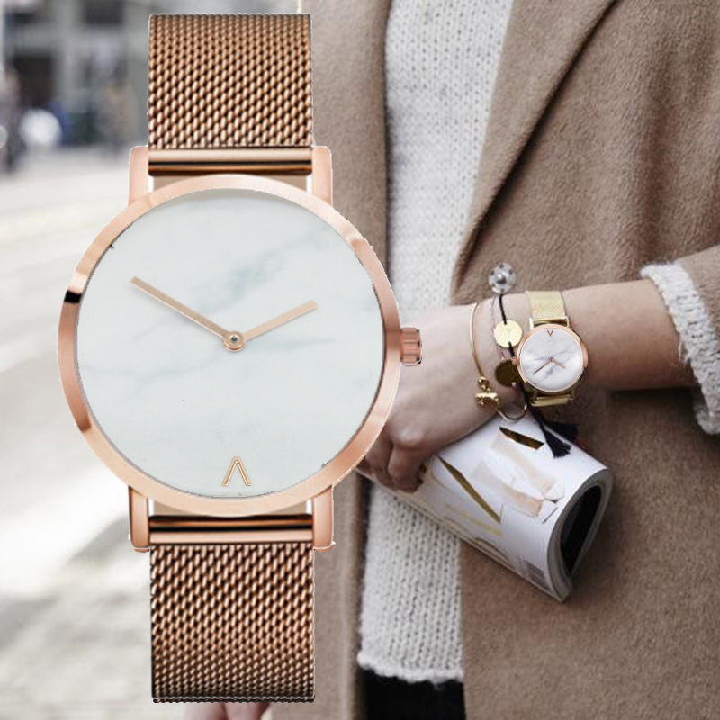 Fashion Luxury Brand Minimalist Style Marble Watch Stainless Steel leather Strap Simple Women Dress Watches Woman Quartz Clock