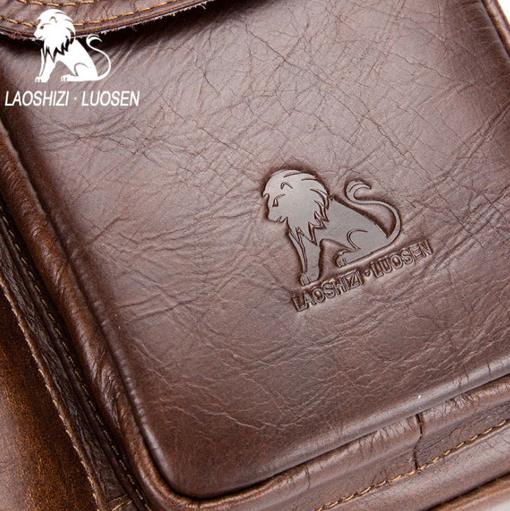 LAOSHIZI LUOSEN men Genuine Leather Shoulder Messenger Bag men's Handbag Vintage Crossbody Bag Tote Business Man Messenger Bag 5