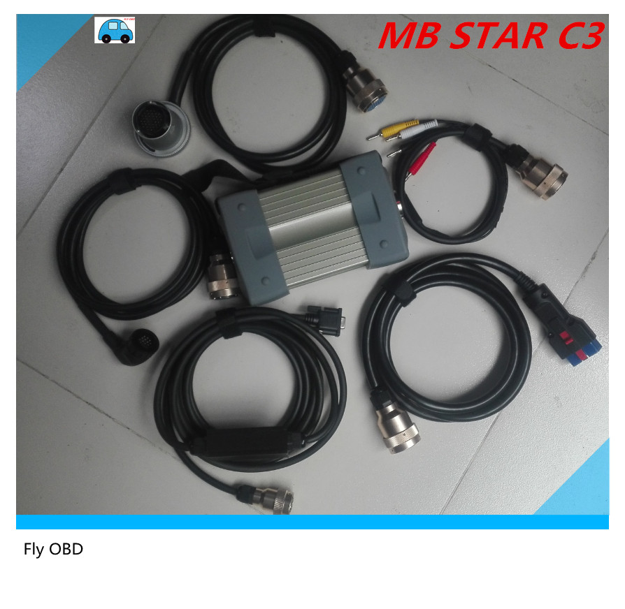 Top Quality MB Star C3 Full Set 5 Strong Copper Cables Car Auto Diagnostic tool MB C3 All New red Relay mb star c3 Free shipping_