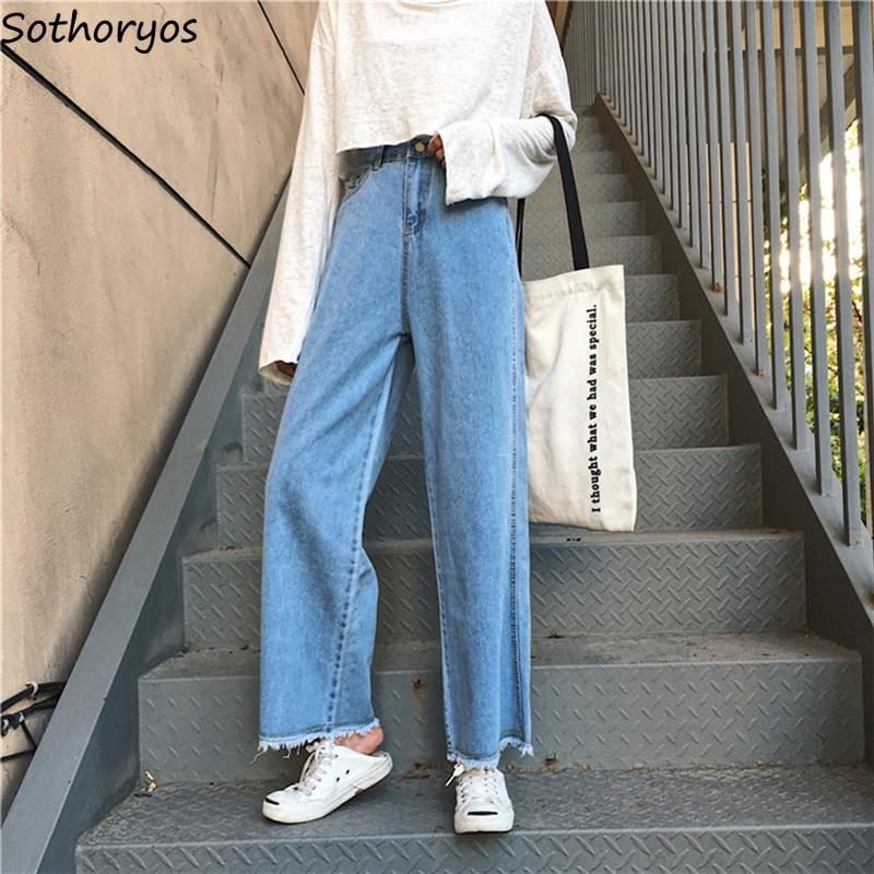 Jeans   Women Denim Solid Ankle-Length Zipper Pockets Trendy Womens Wide Leg Pants Korean Style Sweet All-match Loose Leisure Girl