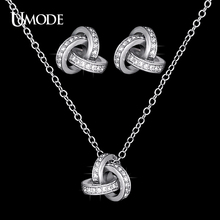 UMODE Bijoux Femme Rhodium plated CZ  Knot Stud Earrings & Pendant Necklaces For Women Fashion Jewelry Sets AUS0031