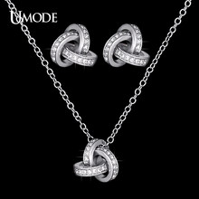 UMODE Bijoux Femme White Gold Color CZ Knot Stud Earrings & Pendant Necklaces For Women Fashion Jewelry Sets AUS0031(China)