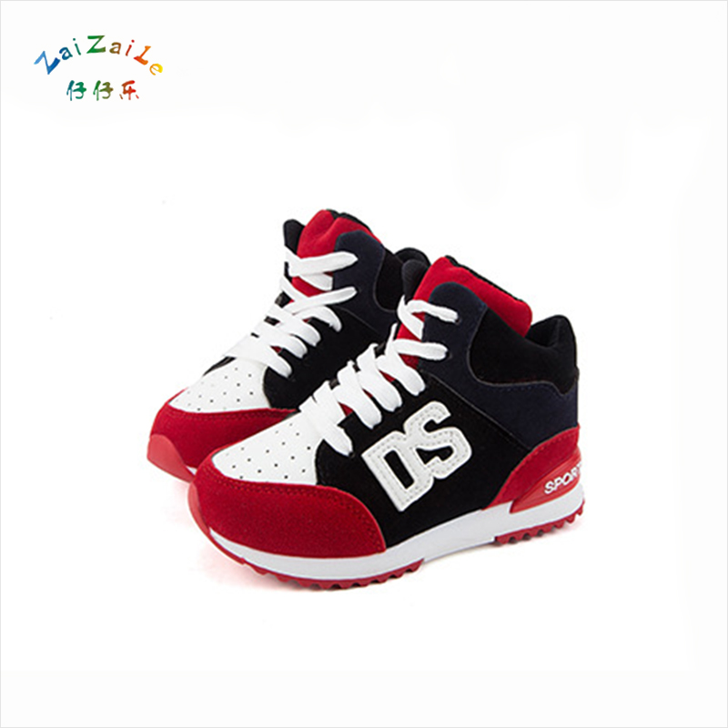 2017 Spring Autumn Children's Sneakers Fashion Alphabet Breathable Boys and Girls Sport Leather Kids Lace-Up Shoes