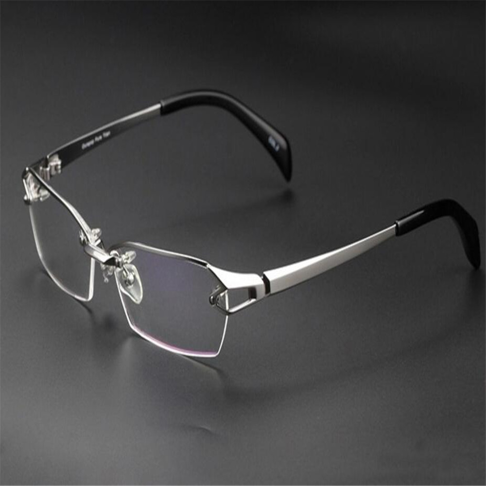 Temperate Eyelook Half Rim Brand Design Pure Titanium Half Rim Silver Clear Lens Optical Myopia Eyewear Eyeglasses Frame Bl1143 Convenient To Cook Men's Glasses Men's Eyewear Frames