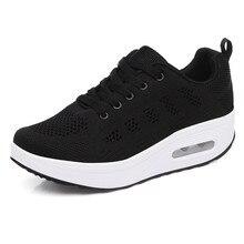Black Women Shoes Air Cushion Running Sneakers Flying Weaving Mesh Lace Up Womens Woman Zapatos De Mujer