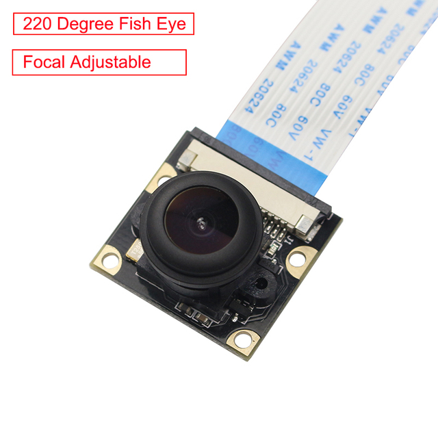 פטל Pi 220 תואר עין דג מצלמה מודול מוקד עדשה מתכווננת OV5647 רחב זווית מצלמה עבור פטל Pi 3 דגם b/B +