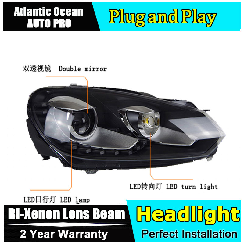 Auto Lighting Style LED Head Lamp for VW Golf 6 led headlights 2009-2012 GIT R20 Angel eye led drl HID KIT Bi-Xenon Lens low bea auto part style led head lamp for benz w163 ml320 ml280 ml350 ml430 2002 2005 led headlights drl hid bi xenon lens low beam