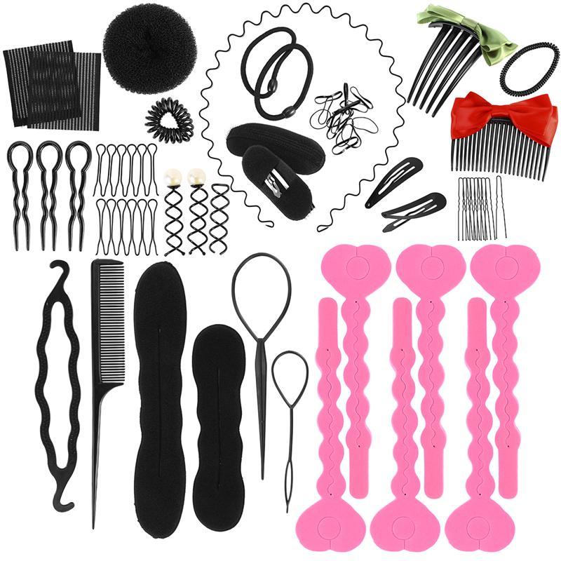 9pcs Women Magic Braiders Hair Twist Styling Clip Stick Bun Make-up Tools