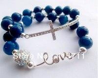YH LB06 Set Of 2 Agate Silver Love And Sideways Cross Bracelet Set
