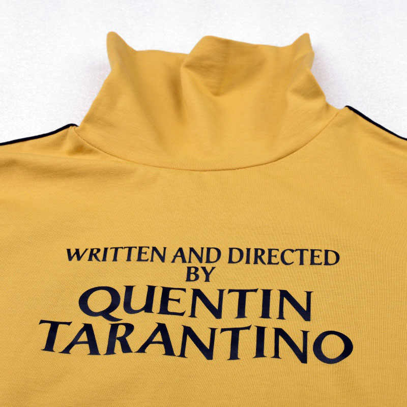 46309e8a81e ... Perets 2018 Fashion Quentin Tarantino Sexy Crop Tops Women Long Sleeve  Side Stripe Turtleneck Cotton Knitted