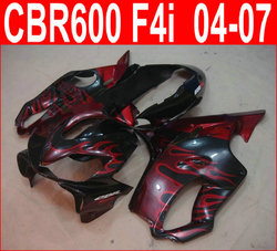 Injection mold top selling fairing kit for Honda CBR600 F4I 04-07 red flames black fairings set CBR600RR F4I 2004-2007 TB024