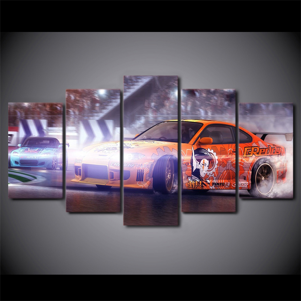 Modern HD Printed Wall Art Poster Framework 5 Panel Car Racing Modular  Pictures Home Decoration Living