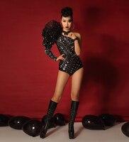 Ночной клуб Черные Блестящие Блестки женский боди шикарное боди с кристаллами бар вечерние DJ певица костюм танцевальная команда Джаз танце