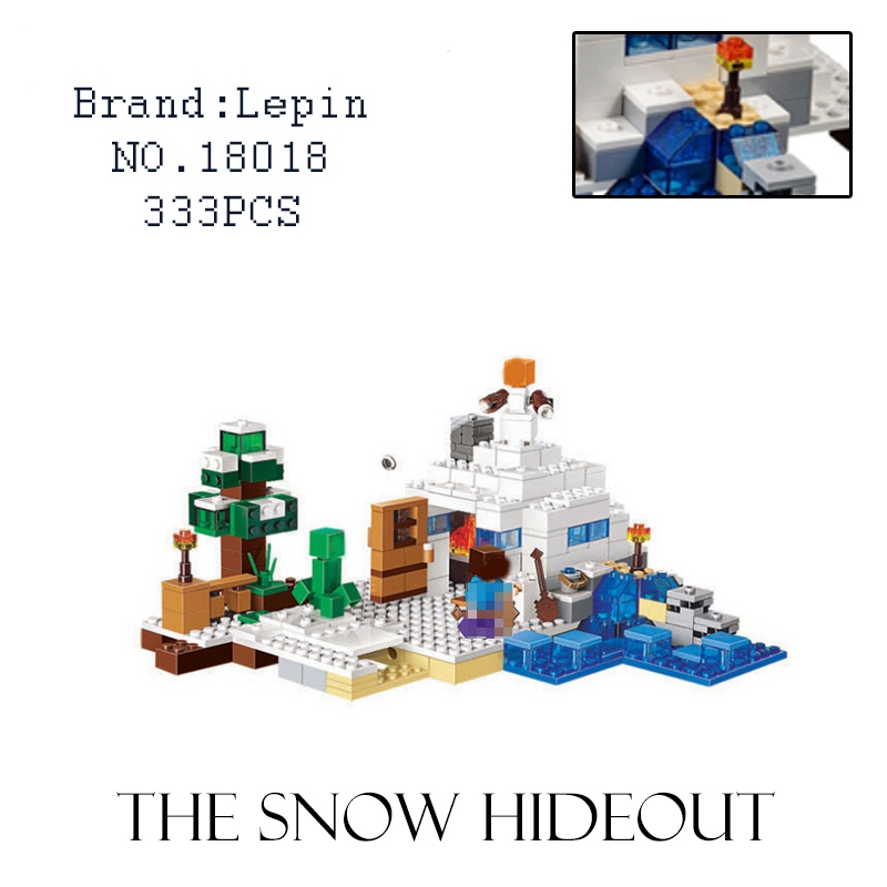 Lepin 333pcs My world Minecraft The Snow Hideout Building Brick Block anime action figures hot Toy for children compatible 21120 hot toys 10pcs lot generation 1 2 3 juguetes pvc minecraft toys micro world action figure set minecraft keychain anime figures