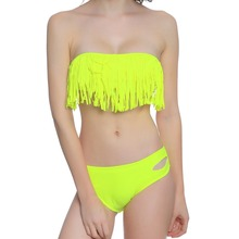 Trangel Bikini 2019 Solid Swimsuit Swimwear Women Two Piece Swimsuit Swimming Suit For Women Tassele Bikini Set Bathing Suit недорого