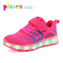 Boys Girls Breathable LED Light Up Shoes Flashing LED Sneakers Luminous Kids Shoes with Light Glowing Sneakers Children