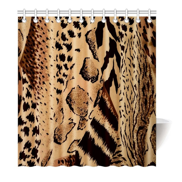Brown Leopard Shower Curtain Printing Waterproof Mildewproof Polyester Fabric Bath Bathroom