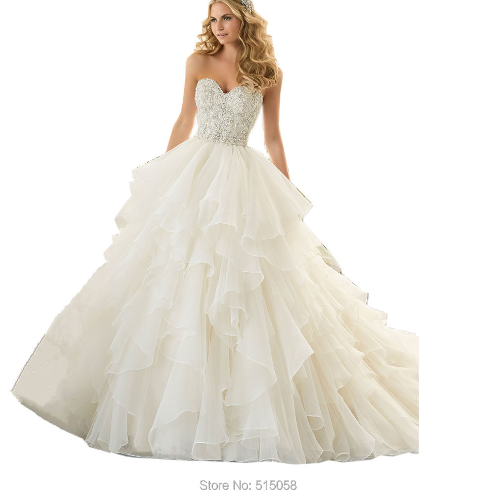 Bling Bling Crystal Beaded Sweetheart Organza Ruffles
