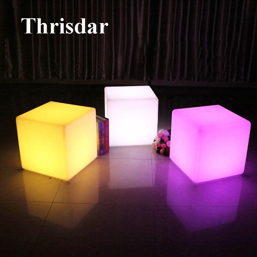 Thrisdar 16 Color Outdoor Led illuminated Furniture KTV Bar Cube Chair Table Light 40X40X40CM Villa Garden Party Cube Stool Lamp