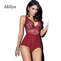 2016 New Sexy Lingerie Hot Wine Red Rose Lace Open Bra Teddy Lingerie Deep V Neck