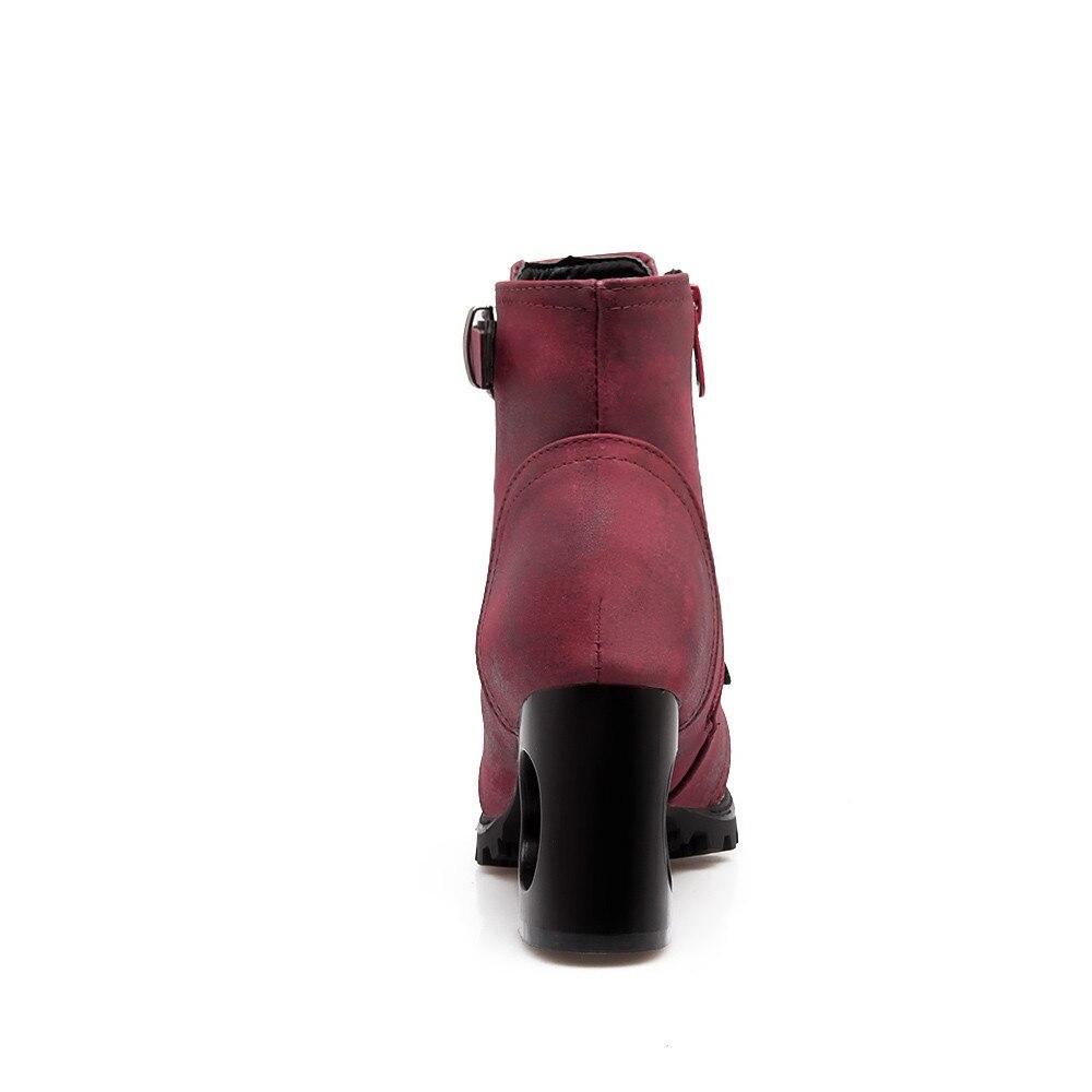 Calzado wine Red Hebilla Tacones Black Para Orshirly Altos Occidental Mujer Botas Plataforma Zapatos Fretwor Más Mujeres Talón Señoras Tamaño gray xq7wZCHU