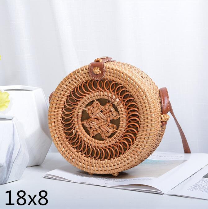 Woven Rattan Bag Round Straw Shoulder Bag Small Beach HandBags Women Summer Hollow Handmade Messenger Crossbody Bags 5