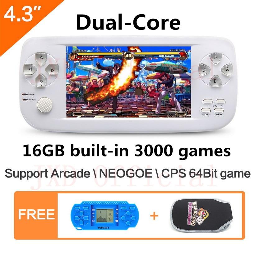 4.3 pouces dual core 16 GB 64Bit PAP K3 construire dans 3000 jeu De Poche jeu vidéo Console pour NEOGOE \ CPS \ GBA \ GBC \ GB \ SFC \ FC \ MD \ GG \ SMS