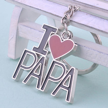 Father's Day Gifts I Love Dad Keychain Personality Metal Love PAPA Father Festival