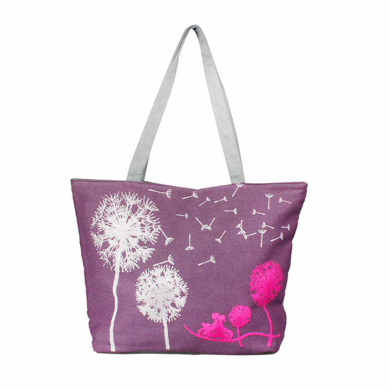 e2fb8767c698 ... Aelicy Женская Холщовая Сумка с принтом сумка на плечо женская большая  емкость Женская пляжная сумка женская ...