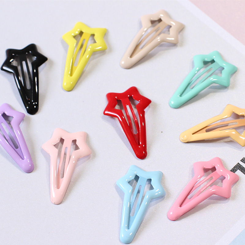 AKWZMLY 6Pcs Cute Star Hairpins Candy Color Solid Children 4cm Small Hair Clips Girls Hair Accessories for Kids Boutique