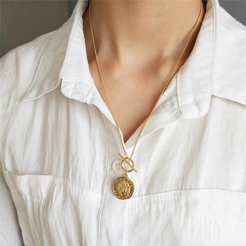 ROMAD รอบแท้เงินแท้ 925 สร้อยคอยาว Portrait เหรียญจี้สร้อยคอ Choker สร้อยคอ R4