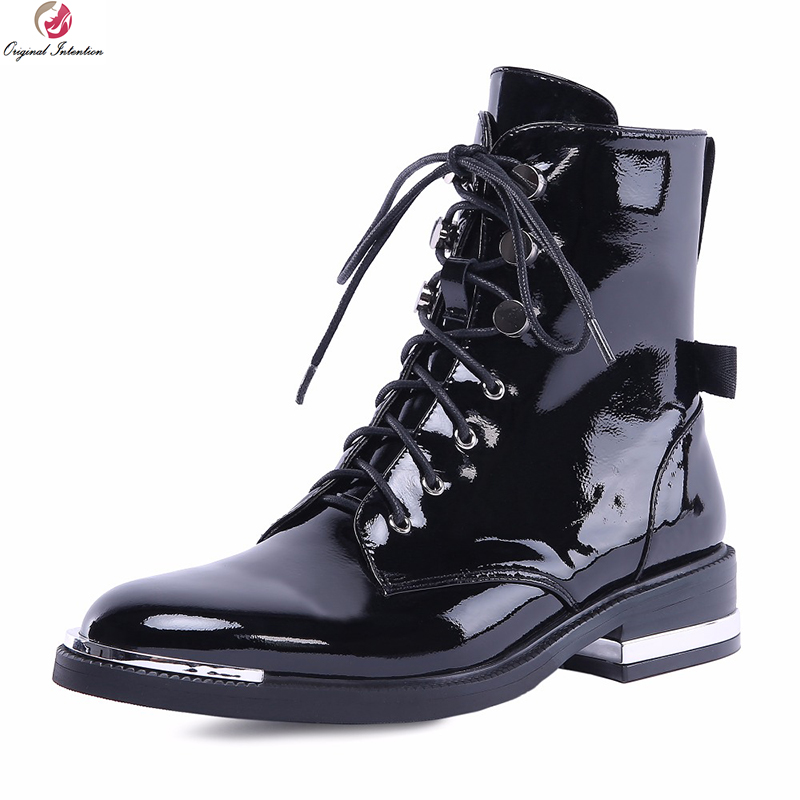 Original Intention New Stylish Women Ankle Boots Real Leather Round Toe Square Heels Boots Nice Black Shoes Woman US Size 4-10 original intention new women ankle boots cow leather round toe square heels boots popular black brown shoes women us size 3 10 5
