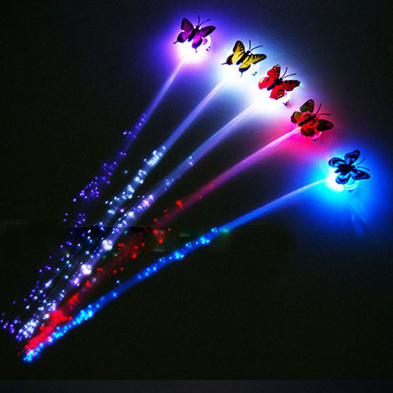 50pcs wedding decoration Luminous LED Butterfly Hair Extension Flash Braid Party Girl Hair For Xmas Night