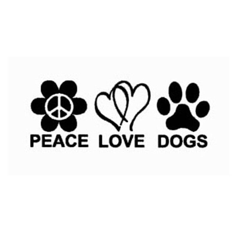 19 * 7 CM PEACE LOVE DOGS diversión etiqueta engomada del coche Decal Car Stylin