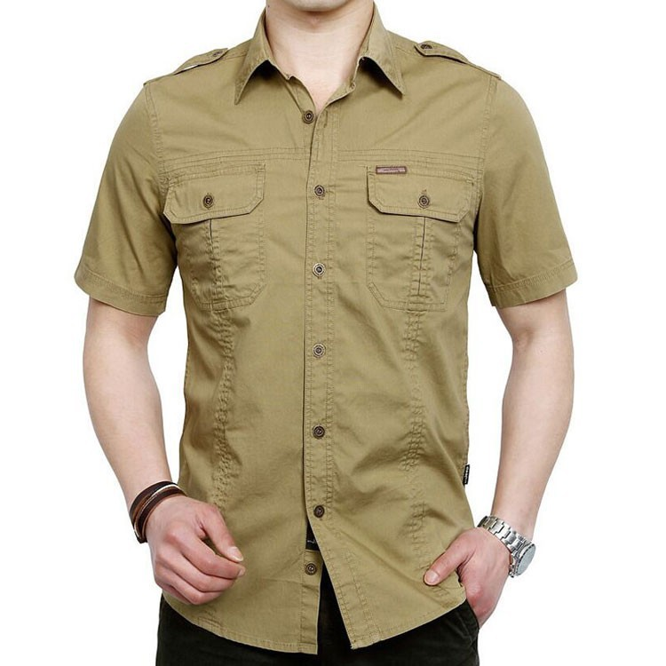 Plus Size xxxxxl Summer Men\'s 100% Cotton Shirts Solid Color Fitness Dress Short Sleeve Shirts Casual Outdoor Men AFS JEEP 5001 (1)