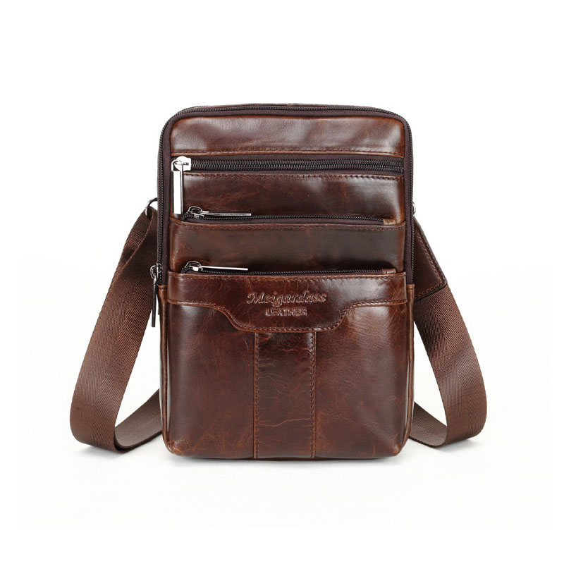 Authentic new multi-function first layer cowhide men's chest bag IPAD tablet computer leather shoulder Messenger bag fast