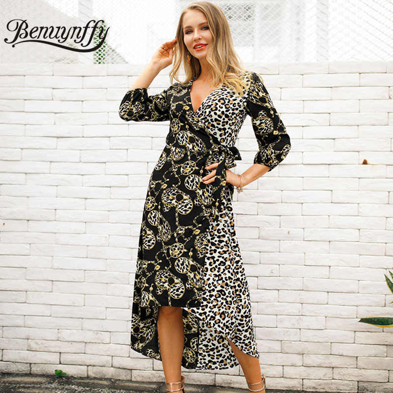 7993ab3eb94 Benuynffy Sexy V Neck Tie Waist Mixed Print 3 4 Sleeve Wrap Dress Women  Summer