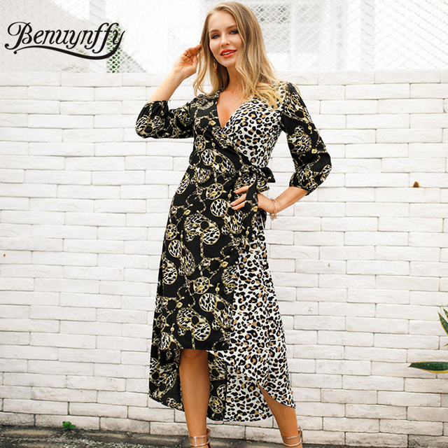7bca311845 Benuynffy Sexy V Neck Tie Waist Mixed Print 3 4 Sleeve Wrap Dress Women  Summer