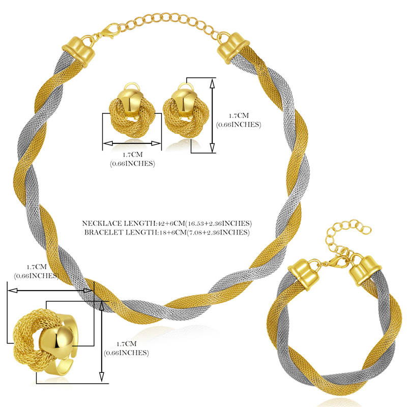 CWEEL Jewelry Set For Women African Beads Jewelry Set Wedding Twist Weave Choker Necklace Bridal Dubai