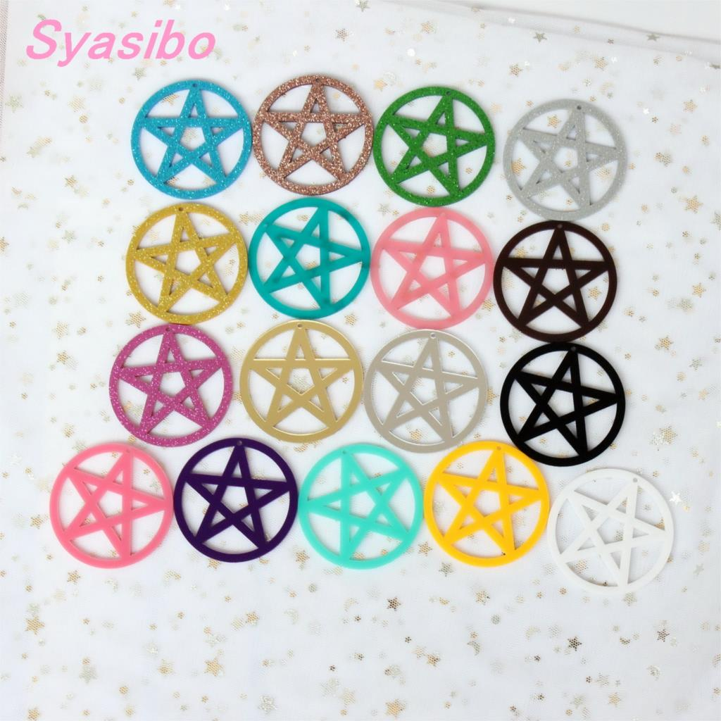 60mm Acrylic Pentagram Circle Earrings Jewelry Necklace Ornaments Laser Cutout 2.4